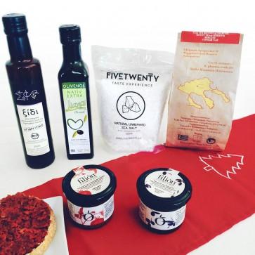 Geschenkkorb griechisch kaufen - Bio Balsamico, Olivenöl & Delikatessen