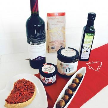 Geschenkkorb mit Rotwein - Ein griechischer Abend zu zweit (ohne Dekoration)