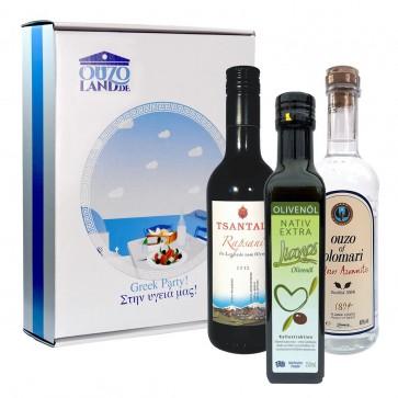 Geschenkset Greek Party | Olivenöl, Rotwein, Ouzo