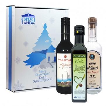 Geschenkset zu Weihnachten mit Olivenöl, Ouzo und Rotwein (3 x 0,2 l)