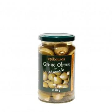 Grüne Oliven mit Mandeln (200 g) in Bio-Qualität von Epikouros