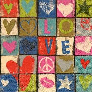 Servietten Motiv Love & Peace 33 x 33 cm 20 Stück