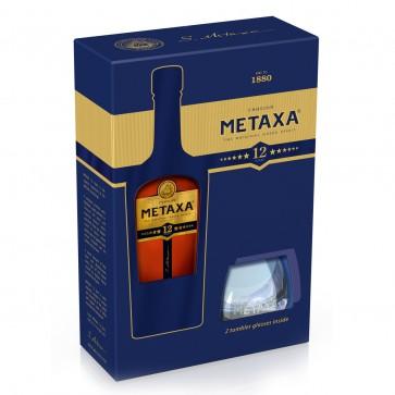 Metaxa 12 Sterne Geschenkset mit 2 Gläser (0,7 l)
