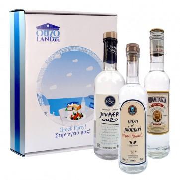 Ouzo Geschenkset mit Plomari Babatzim Jivaeri (3 x 200 ml)
