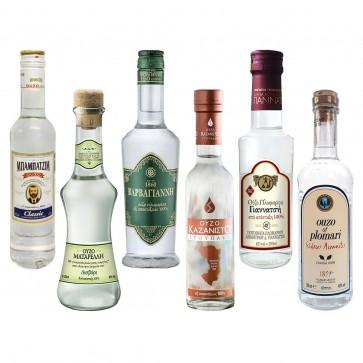 Ouzo 100 % Destillat Probier- und Geschenkset (6 x 0,2 l)