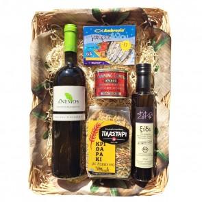 Geschenkideen mit Weißwein und Feinkost aus Griechenland