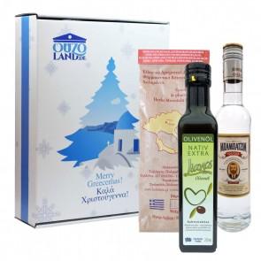 Griechische Geschenkidee mit Genuss | Olivenöl, Grillgewürz & Ouzo