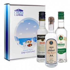 Ouzo Geschenkset mit Plomari, Pilavas, Mini (3 x 0,2 l)